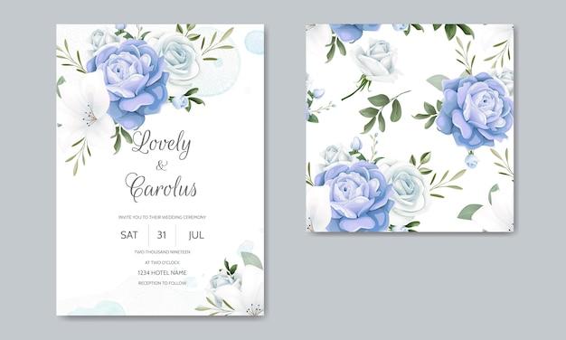 Schöne blumenhochzeits-einladung mit blühenden rosen und grünen blättern