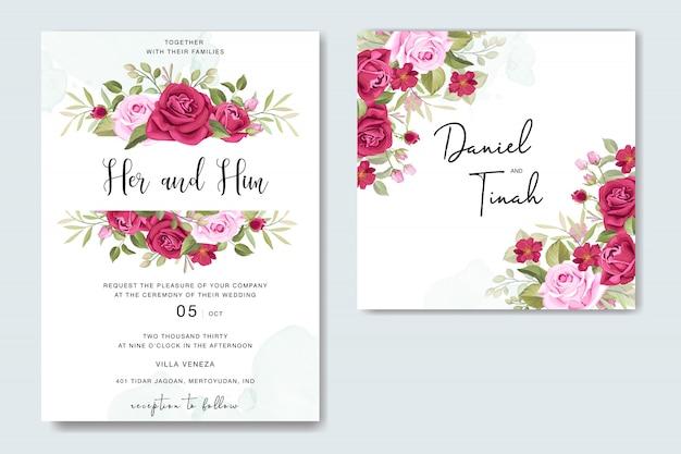 Schöne blumenhochzeitskarte mit rosenrahmenschablone