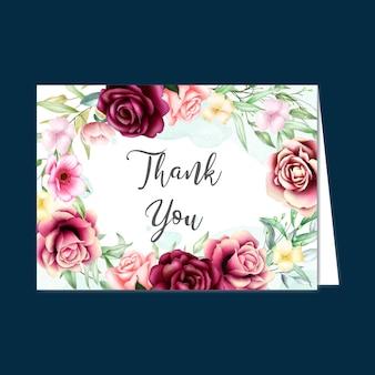 Schöne blumenkarte mit danke mitteilung