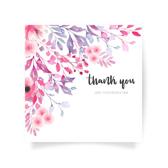Schöne blumenkarte mit dankeschön-nachricht
