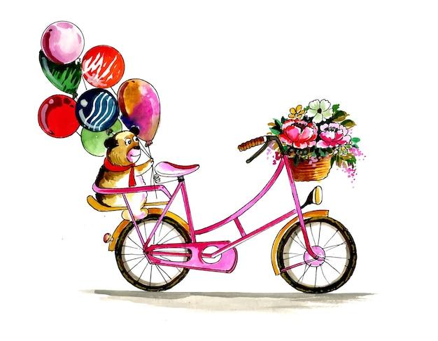 Schöne blumenkollektion. fahrrad mit blumenstrauß im korb und bunten luftballons