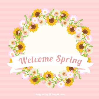 Schöne blumenkranz mit sonnenblumen