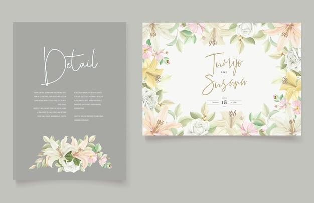 Schöne blumenlilie blüht einladungskarte