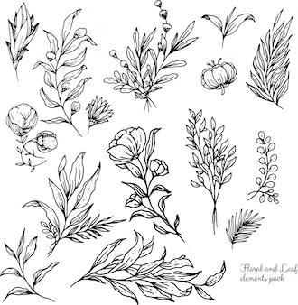 Schöne blumenpflanzenelemente