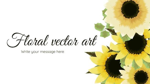 Schöne blumenrahmenhintergrundschablone mit sonnenblumennaturblumen verlässt niederlassungstext