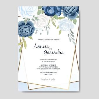 Schöne blumenrahmenhochzeitseinladungskartenschablone mit blauen rosen
