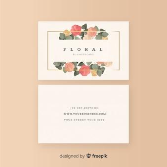 Schöne blumenvisitenkarte mit flachem design