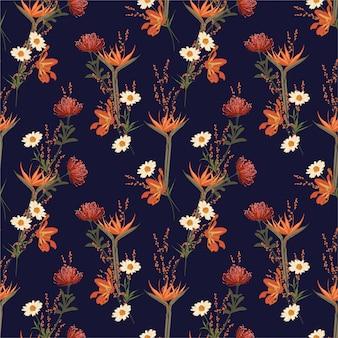 Schöne botanische und wiesenblumen, blühende gartenblume, nahtloses muster