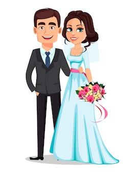 Schöne braut und hübscher bräutigam