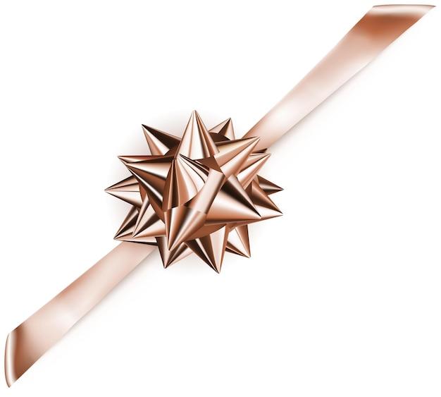 Schöne bronzefarbene glänzende schleife mit diagonalem band mit schatten