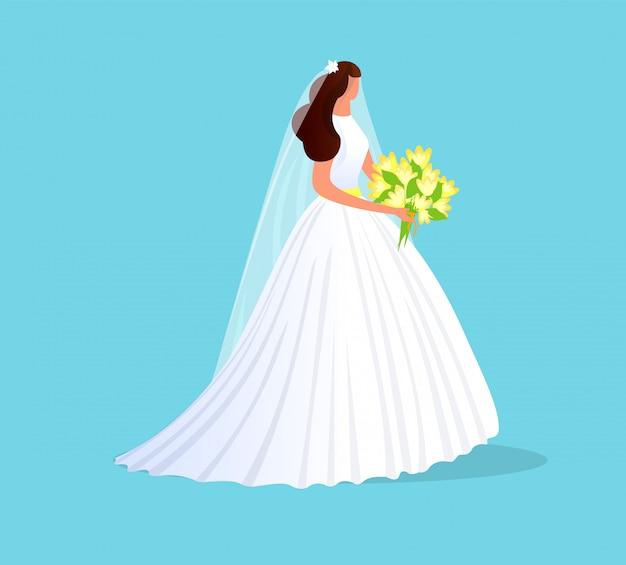 Schöne brunette-braut im weißen hochzeits-kleid.