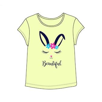 Schöne bunny illutration mit t-shirt