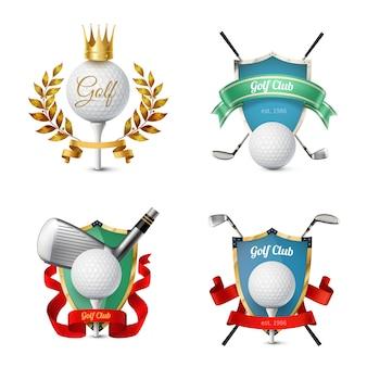 Schöne bunte embleme verschiedener golfschläger mit bällen schirmt bänder ab, die realistische vektorillustration lokalisiert werden