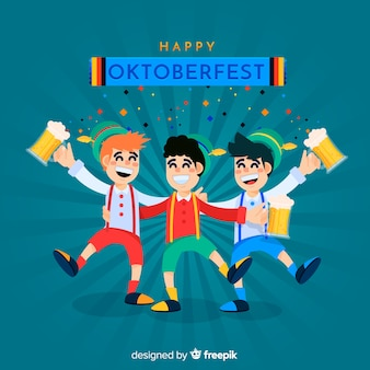 Schöne charaktere feiern oktoberfest