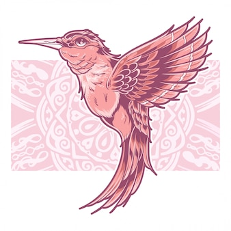 Schöne colibri in rosa farbe