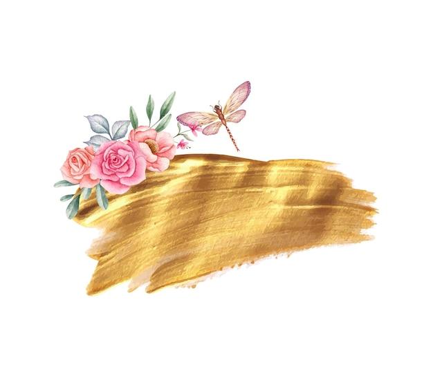 Schöne dekoration aus goldenem pinselstrich mit floralen elementen und libelle