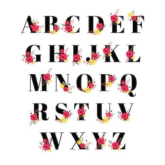 Schöne dekorative alphabet-logo-sammlung mit blumenmuster