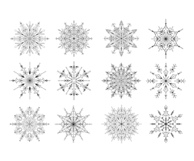 Schöne dekorative schneeflocken-mandala-sammlung