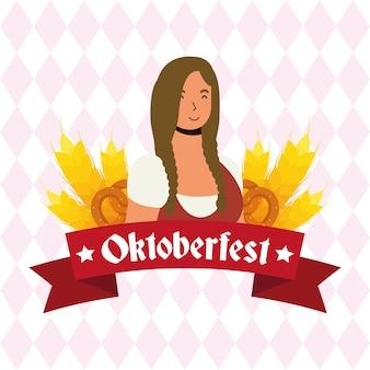 Schöne deutsche frau avatar charakter vektor-illustration design