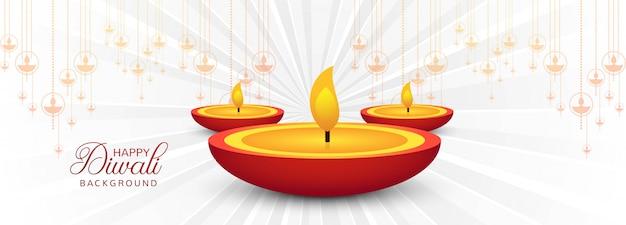 Schöne diwali-fahne mit diya-dekoration