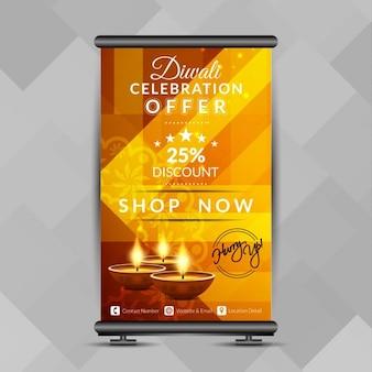 Schöne diwali-fest aufrollen banner-design