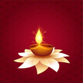 Schöne diwali festival diya auf blumenhintergrund