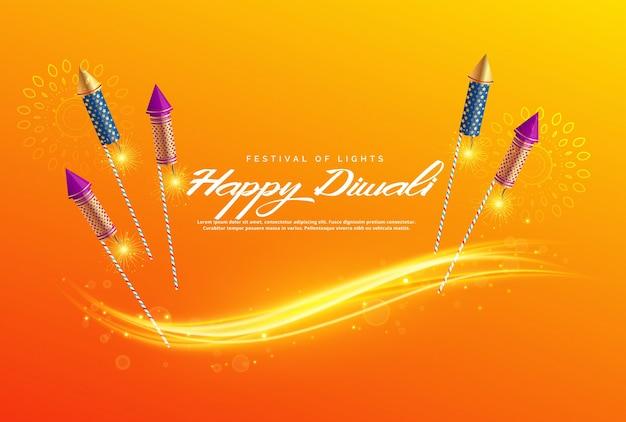Schöne diwali festival gruß hintergrund mit feuerwerk