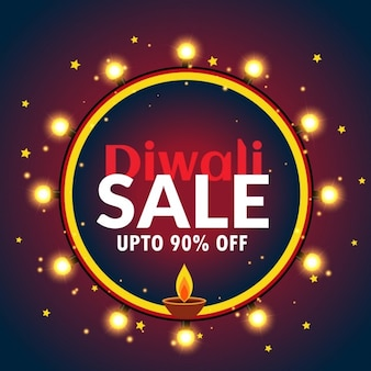 Schöne diwali verkauf banner mit glühbirnen und diya