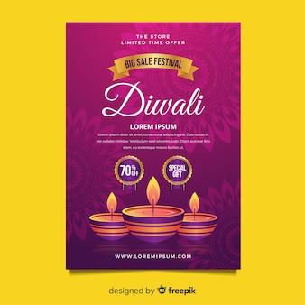 Schöne diwali verkauf flyer vorlage mit flachen design