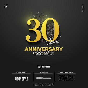 Schöne einladung zum 30-jährigen jubiläum mit gelben zahlen