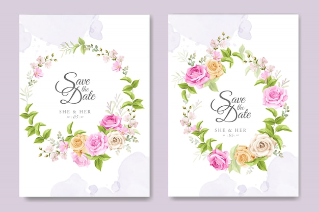 Schöne einladungskarte mit bunter blumen- und blattschablone