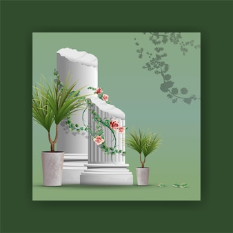 Schöne elemente stück säule, pflanzen, zweige rebe design realistische illustration.