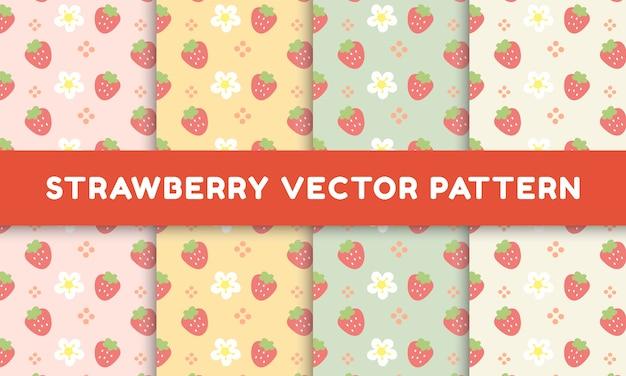 Schöne erdbeer-blumenmuster-sammlung