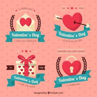 Schöne etiketten mit blauen bändern für den valentinstag