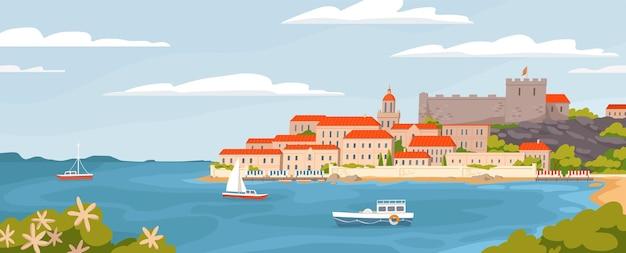 Schöne europäische stadt an der grafischen illustration der sommerseeküste