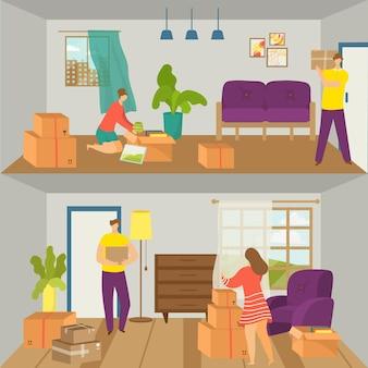 Schöne familie menschen charakter zusammen umzug haus paar wohnungswechsel wohnung flach vektor-illustration...