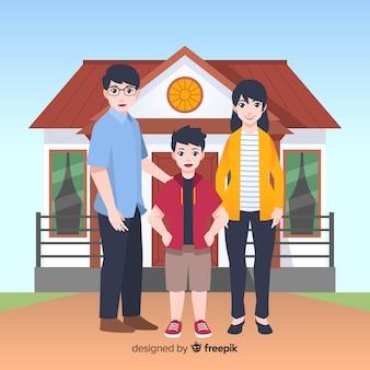Schöne familie zu hause mit flachem design