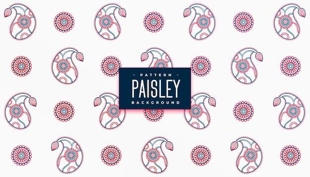 Schöne farben paisley-muster auf weißem hintergrund