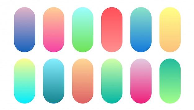 Schöne farbverlaufssammlung. cyan-blaue kreismehrfarbensteigungen des grünen purpurroten gelben orange rosas, bunter weicher runder knopfvektorsatz