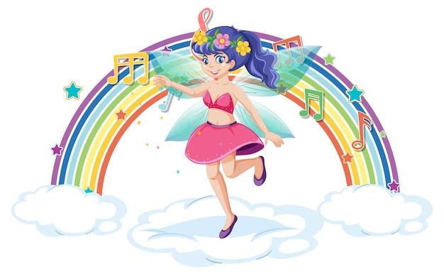 Schöne fee, die auf einer wolke mit regenbogen steht