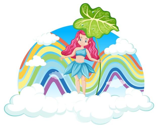 Schöne fee mit regenbogen am himmel