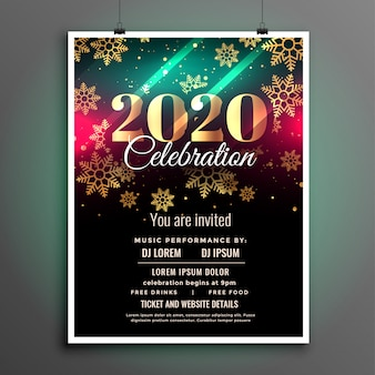 Schöne feier-fliegerschablone des neuen jahres 2020