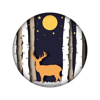 Schöne ferien. frohe weihnachten abstrakte papierschnittillustration von hirsch im wald. mond und sterne in der nacht.