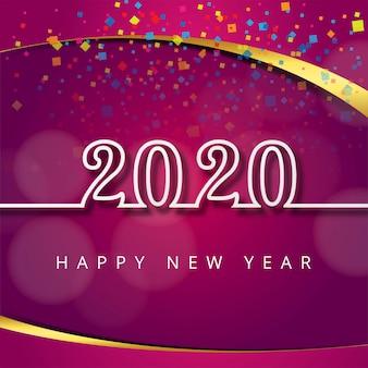 Schöne festival-grußkartenschablone des neuen jahres des textes 2020