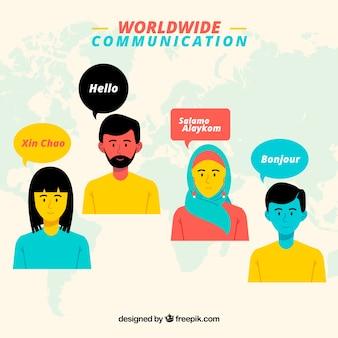 Schöne, flache charaktere, die verschiedene sprachen sprechen