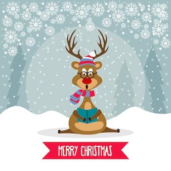 Schöne flache design weihnachtskarte mit rentier
