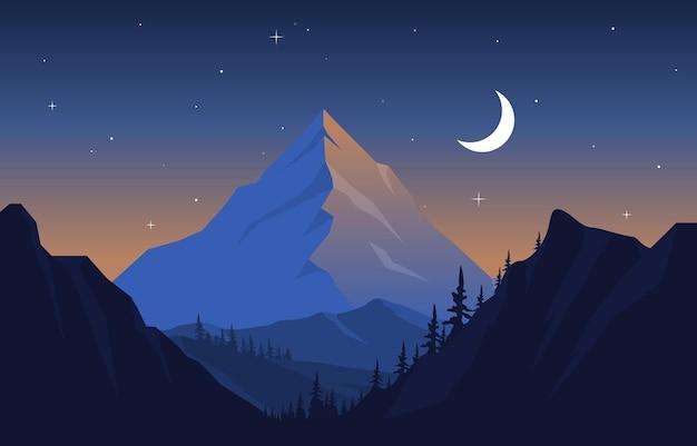 Schöne flache illustration der kiefernwald-bergpanorama-landschaft
