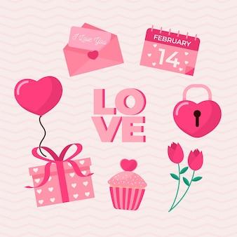Schöne flache valentinstag elemente