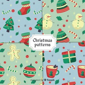 Schöne flache weihnachtsmustersammlung