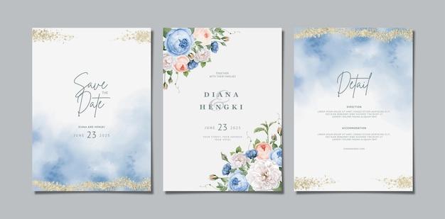 Schöne florale hochzeitseinladung mit aquarell